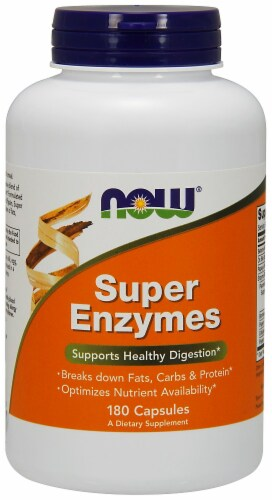 Now Super Enzymes Capsules 180 Count Perspective: front