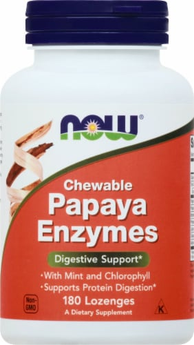NOW Foods Chewable Mint Papaya Enzymes Perspective: front