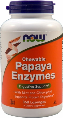 NOW  Chewable Papaya Enzymes Perspective: front