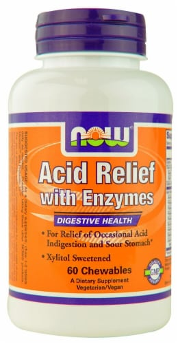 NOW Foods Acid Relief with Enzymes Chewables Perspective: front