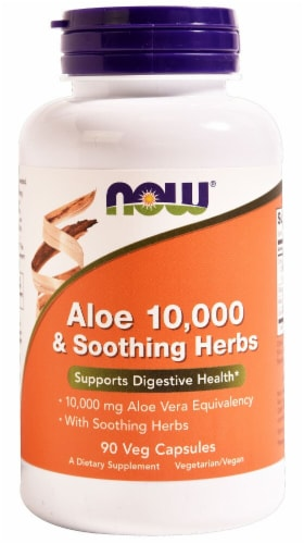 NOW Foods Aloe 10000 & Soothing Herbs Vegetarian Capsules Perspective: front
