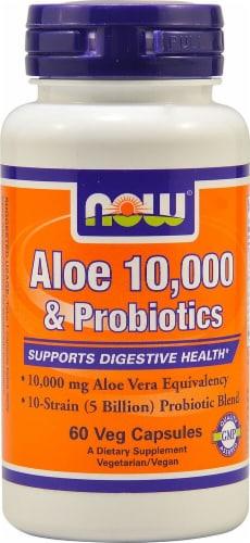 NOW Foods Aloe 10000 & Probiotics Vegetarian Capsules Perspective: front