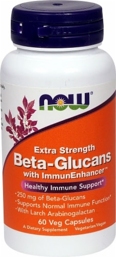 NOW Foods Extra Strength Beta-Glucans with ImmunEnhancer Veg Capsules Perspective: front