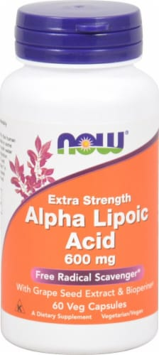 NOW Foods Alpha Lipoic Acid Veg Capsules Perspective: front
