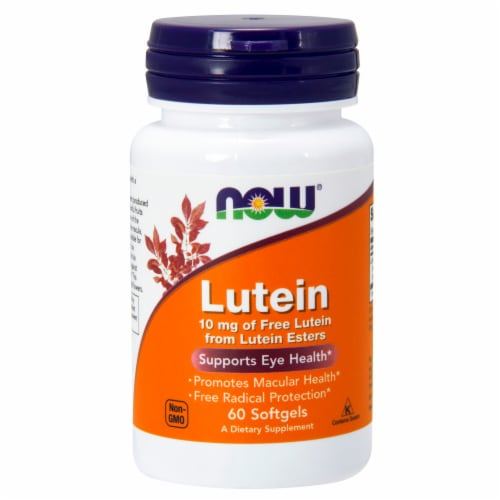 NOW Foods Lutein Eye Health Dietary Supplement Softgels 10mg Perspective: front
