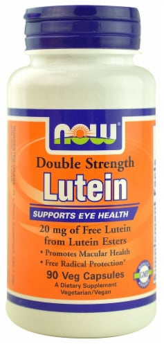 NOW Foods Double Strength Lutein Veg Capsules 20mg Perspective: front