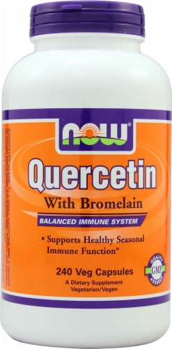 NOW Foods Quercetin With Bromelain Veg Capsules Perspective: front