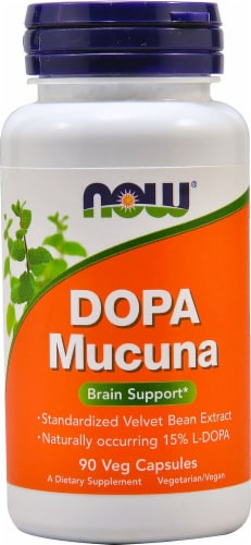 NOW Foods Dopa Mucuna Veg Capsules Perspective: front