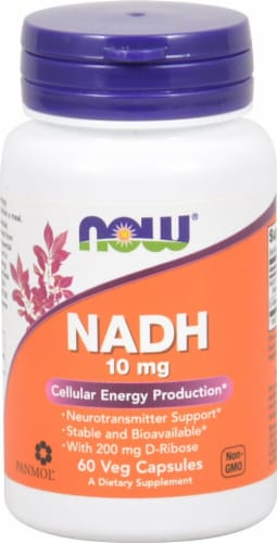 NOW Foods NADH Veg Capsules 10 mg Perspective: front