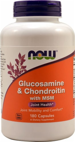 NOW Glucosamine & Chondroitin with MSM Capsules Perspective: front