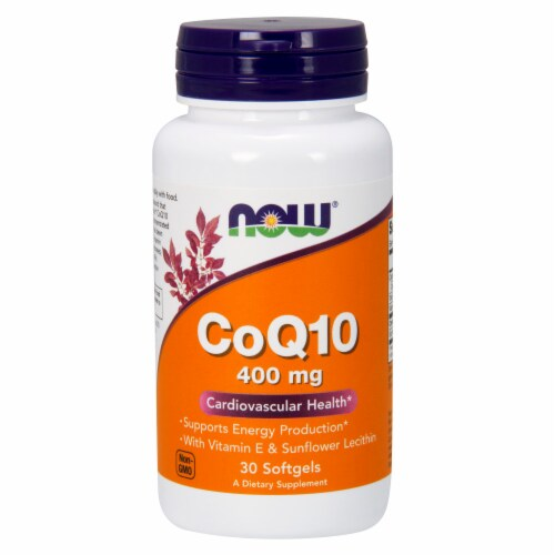 NOW Foods CoQ10 Cardiovascular Health Dietary Supplement Softgels 400mg Perspective: front