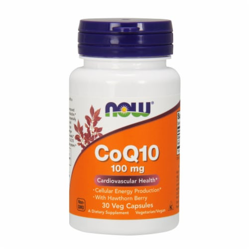 NOW Foods CoQ10 Cardiovascular Health Dietary Supplement Veg Capsules 100mg Perspective: front