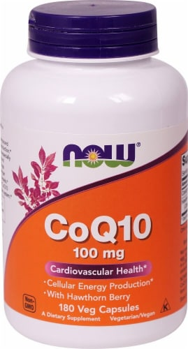 NOW CoQ10 Veg Capsules 100 mg Perspective: front