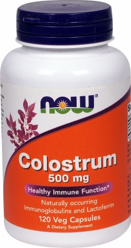 NOW Foods Colostrum 500mg Veg Capsules Perspective: front