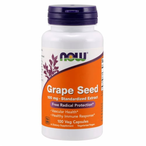 NOW Foods Grape Seed Free Radical Protection Dietary Supplement Veg Capsules 100mg Perspective: front