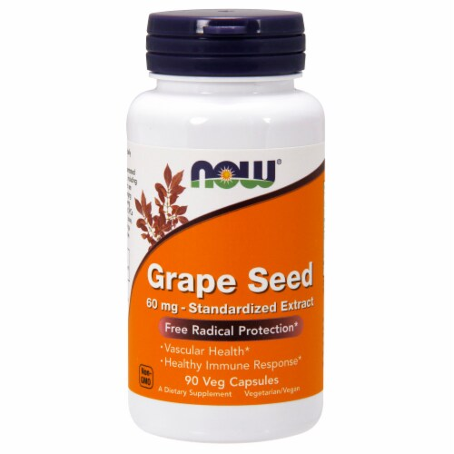 NOW Foods Grape Seed Free Radical Protection Dietary Supplement Veg Capsules 60mg Perspective: front