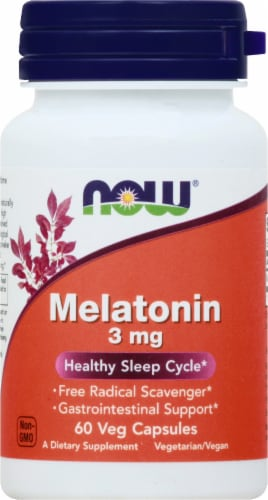 NOW Foods Melatonin 3mg Veg Capsules Perspective: front