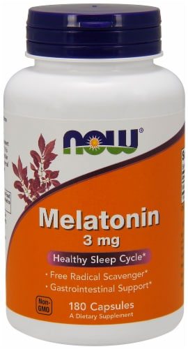 Now Melatonin 3mg Capsules Perspective: front