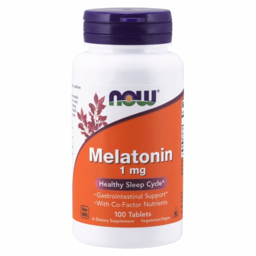 NOW Foods Melatonin Healthy Sleep Cycle Dietary Supplement Tablets 1mg Perspective: front