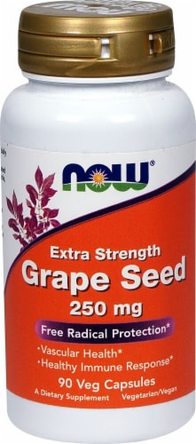 NOW Foods Extra Strength Grape Seed Veg Capsules 250mg Perspective: front