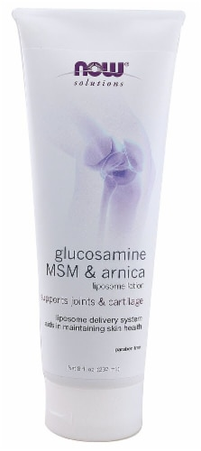 NOW Foods  Solutions Glucosamine MSM & Arnica Liposome Lotion Perspective: front