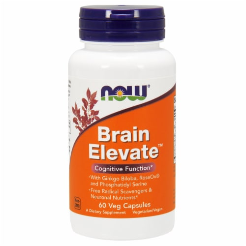 NOW Foods Brain Elevate Cognitive Function Dietary Supplement Veg Capsules Perspective: front