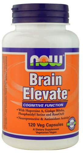 NOW Foods Brain Elevate Veg Capsules Perspective: front