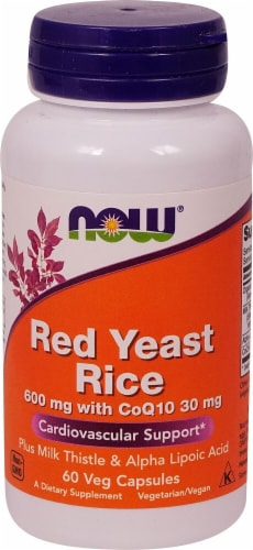 NOW Foods Red Yeast Rice with CoQ10 Veg Capsules Perspective: front