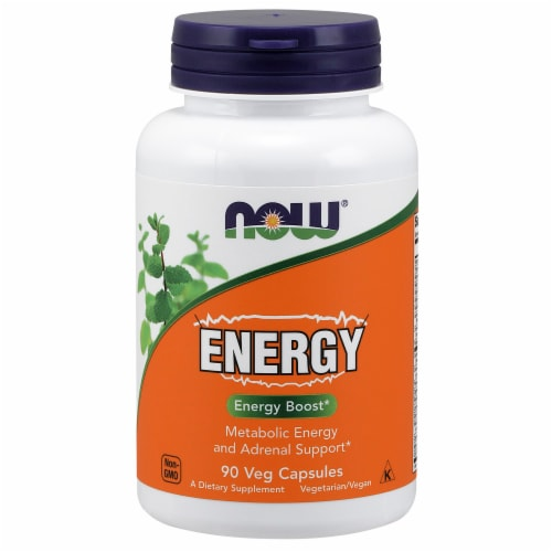 NOW Foods Energy Boost Dietary Supplement Veg Capsules Perspective: front