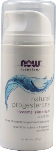 NOW  Solutions Natural Progesterone Cream Unscented Perspective: front