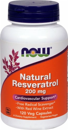 NOW Foods Natural Resveratrol Veg Capsules 200mg Perspective: front