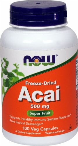 NOW Foods Freeze-Dried Acai Veg Capsules 500mg Perspective: front