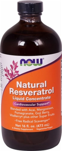 NOW   Natural Resveratrol Liquid Concentrate Cardiovascular Support Perspective: front