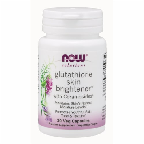 NOW Foods NOW Solutions Glutathione Skin Brightener Dietary Supplement Veg Capsules Perspective: front