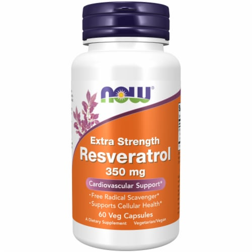 NOW Foods Extra Strength Reservatrol Capsules Perspective: front