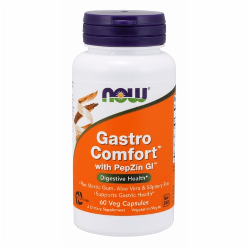 NOW Foods Gastro Comfort Digestive Health Dietary Supplement Veg Capsules Perspective: front