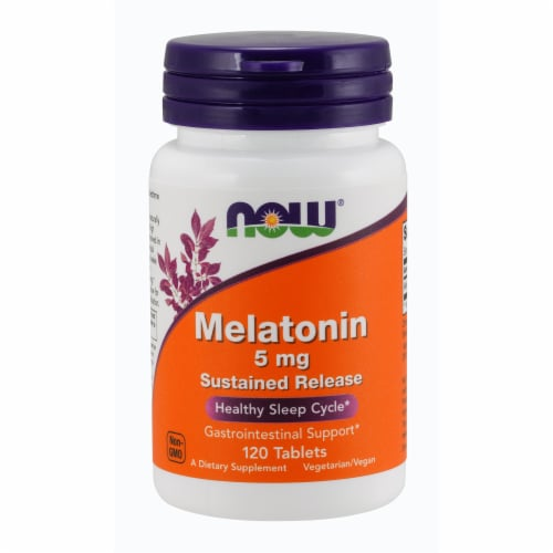 Now Melatonin Sustained Release Healthy Sleep Cycle Gastrointestinal Support Tablets 5mg Perspective: front