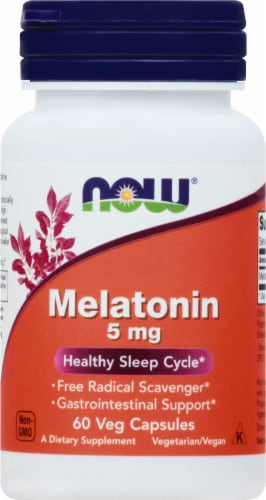 NOW Foods Melatonin 5mg Capsules Perspective: front