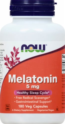 Now Melatonin Vegetarian Capsules 5mg 180 Count Perspective: front