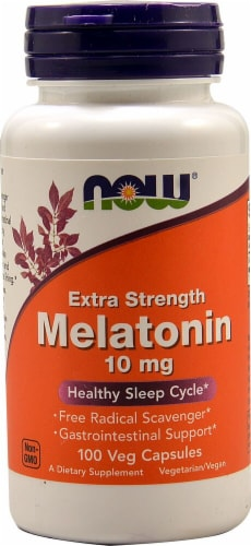 NOW Foods Melatonin Vegetarian Capsules 10 mg Perspective: front