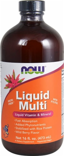 NOW Foods  Liquid Multi Iron Free   Wild Berry Perspective: front