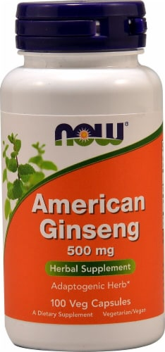 NOW Foods American Ginseng Veg Capsules 500mg Perspective: front