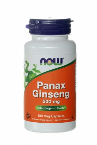NOW Foods Panax Ginseng Veg Capsules 500mg Perspective: front