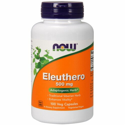 NOW Foods Eleuthero Adaptogenic Herb Dietary Supplement Veg Capsules 500mg Perspective: front