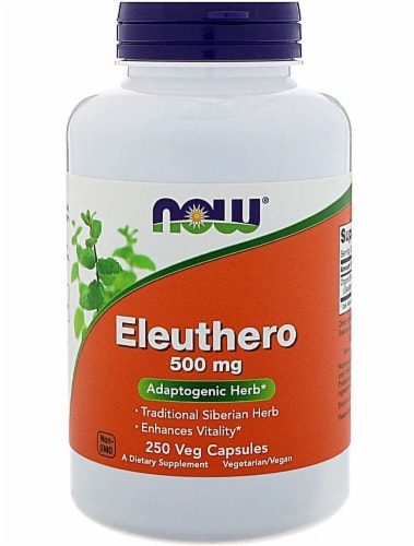 NOW Foods Eleuthero Veg Capsules 250mg Perspective: front