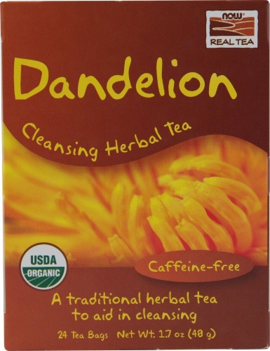 NOW   Real Tea Organic Dandelion Cleansing Herbal Tea Perspective: front
