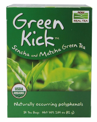 NOW Foods  Real Tea Organic Green Kick™ Perspective: front
