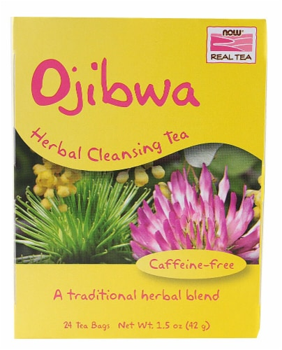 NOW Foods  Real Tea Ojibwa Herbal Cleansing Tea Perspective: front