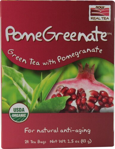 NOW Foods  Real Tea Organic PomeGreenate™   Green Tea with Pomegranate Perspective: front