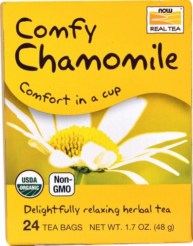 NOW Foods  Organic Real Tea   Comfy Chamomile Perspective: front